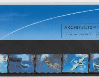 Vintage postage stamps, 1996, Architects of the Air, stamps presentation pack, Royal Mail, mint stamps, fighter planes, Spitfire, Mosquito