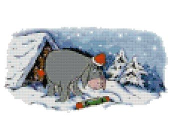 Christmas Eeyore Counted Cross Stitch Pattern PDF Download
