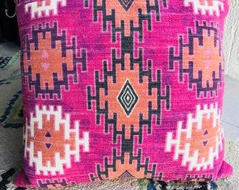 Geometric kilim pink purple orange decorative pillow. MADE IN INDIA