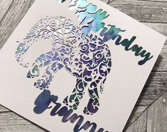 Happy Birthday personalised elephant Card ~ Papercut Card ~ Birthday Card ~ Greetings Card