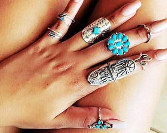 Turquoise Bohemian inspired 9 pce ring set