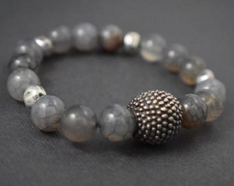 Bracelet - Day or night Elegance Bracelet. Quartz and large antique silver bead moss design