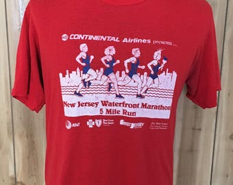 Vintage New Jersey Waterfront Marathon 5 Mile Run 80s 1980s SOFT Red Jerzees t shirt - vintage tees - racing t shirt - jersey shroe (Large)