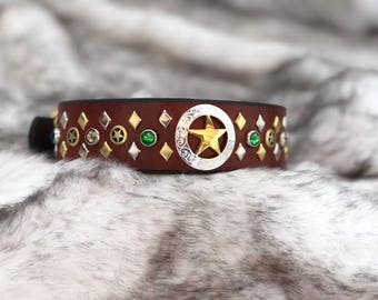 Leather Green/Blue Lonestar Collar