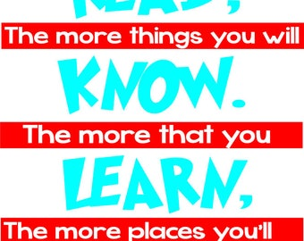 The More You Read Quote Cut File