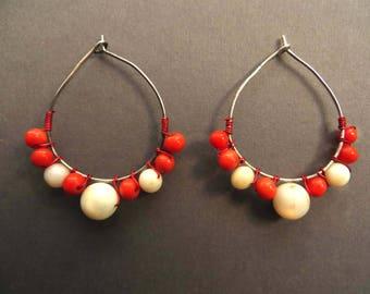Earrings of Coral Beads on Sterling Silver Hoops