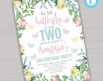 Butterfly Birthday Invitation Butterfly Birthday Invite Butterfly Birthday  Invitation Template Girl Birthday Invitation Instant Download  Birthday Invitation Pictures