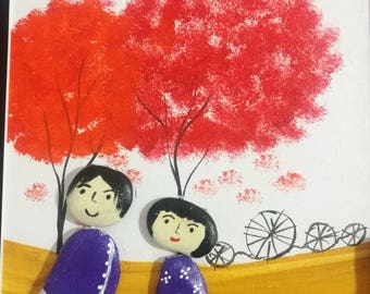 Couple under Red Leaves Tree/ Oil Painting mix Stone Painting+ bonus a small cute gift*