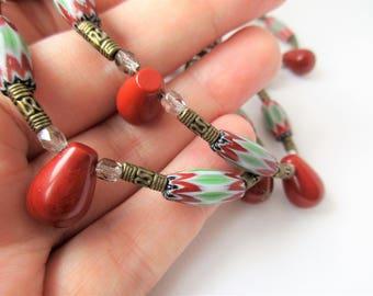 Chevronperlen, Chevronhalskette, red jasper, gemstone necklace, necklace