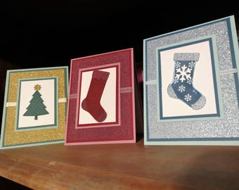 Christmas Hand Stamped Greeting Cards, red stocking, green tree, or blue stocking