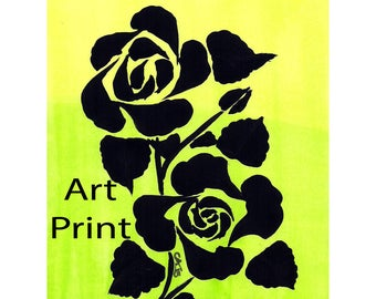 Art Print Original Design Rose Stencil Made in Montana Hand Painted Black Lime Green Yellow Bright Flower Kalispell Montana
