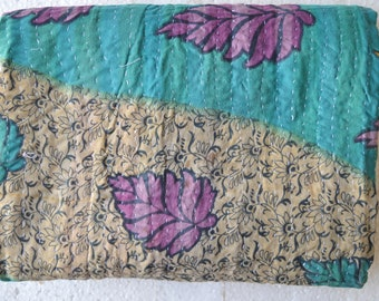 Kantha Vintage Quilt Handmade Reversible Cotton Indian Blanket Throw Bedding G-33