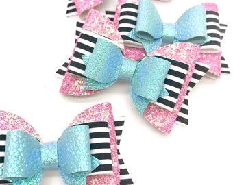 Artisan black pink stripe gold fabric Medium hair bow clip headband hair accessories glitter