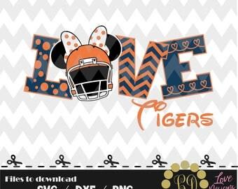 LOVE Tigers Disney svg,png,dxf,cricut,silhouette,jersey,shirt,proud,birthday,invitation,sports,cut,girl,new,decal,minnie,svg,new year,auburn