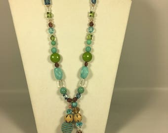 Handmade Glass Beaded  Long Necklace