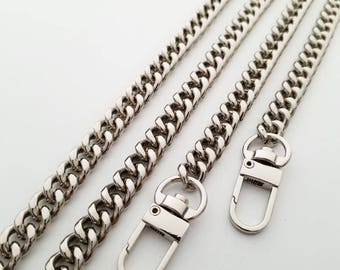 silver chain strap purse strap wallet strap bag handbag strap Crossbody chain links Replacement Chain Strap width 9mm 1pcs