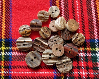 Antler buttons - rustic horn natural buttons sewing supplies