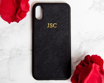 iphone X case, personalised leather, Black saffiano iphone X case, Customised embossed iphone 10 phone cover, monogram, birthday gift