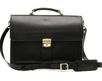 Black Leather Briefcase Leather Business Bag Leather Laptop Bag Crossbody Bag Real Leather Bag Leather Cabin Bag Leather Messenger