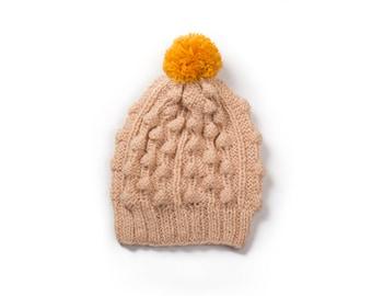 Hand made knitted hat - beige / mustard