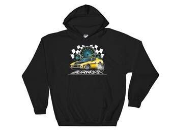 Muscle car doing a burnout Hooded Sweatshirt