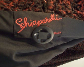 Rare Vintage Red and Black Schiaparelli Persian Lamb coat with red hued brown mink collar