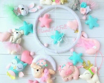 Baby mobile Animals mobile Pink mobile Nursery mobile Crib mobile bunny mobile flamingo mobile flamingo crib mobile pig mobile girl mobile