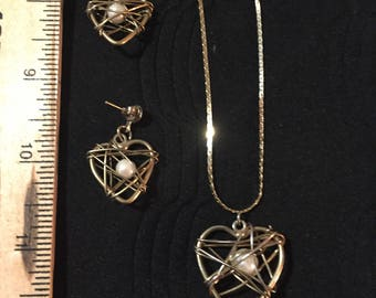 Heart earrings and pendant necklace set