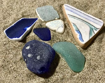 Beach Style Interior Set with Blue Frosted Sea Glass * Beach for House * Beach Finds Home Decoration Mix * Ocean Gifts * Nautical Decor