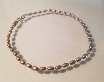 Vintage Sterling silver bead chain bracelet 9 inches