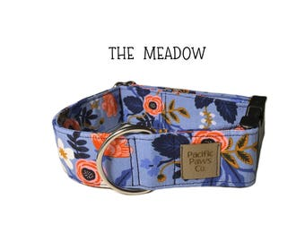 The Meadow dog collar, flower dog collar, spring dog collar, rose dog collar, periwinkle dog collar, girly dog collar, valentines day dog