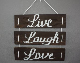 Love,Live,Laugh sign,rustic decor,wall decor,