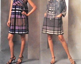 Vogue 1046 pattern. Vogue 1046.  Anna Sui dress pattern.  Anna Sui couture dress pattern. Anna Sui designer.  Sizes 6-12.  Uncut.
