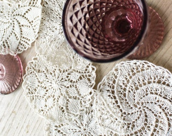 Bohemian 6 doilies - 100% handmade and in france - coasters