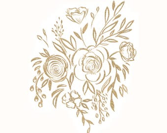 Golden Flowers Print