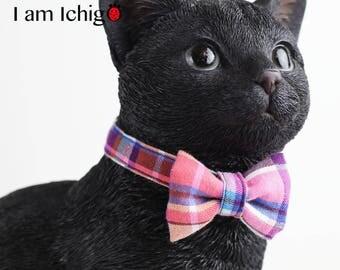 Plaid cat collar/ bowtie in Pink