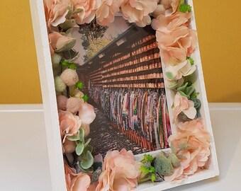 Valentine gift / home decor -- handmade white light up floral LED frame -- Botanical -- Rustic -- Cherry Blossom -- bedroom, nursery