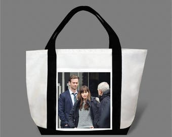 Dakota Johnson Jamie Dornan Canvas Tote Bag #0006