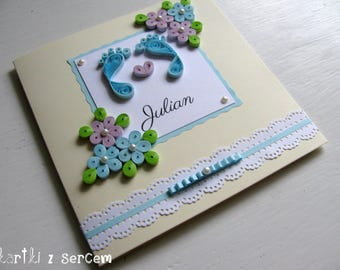 Newborn, baby shower, boy, girl, feet, birth, parents, baptism, birthday, customised,  quilling card with flowers