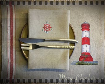 "Embroidered Placeset with napkin ""Lighthouse 1"""