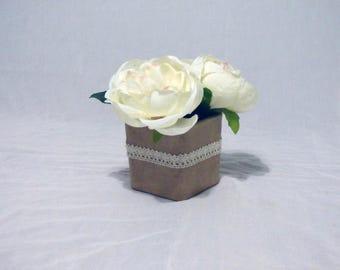 Small White Silk Flower Arrangement, White Silk Roses, Small Rustic White Roses Arrangement, White Roses for Gift