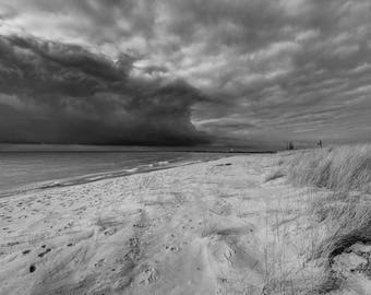Canvas Print, Lake Michigan, Clouds, Beach, Weather