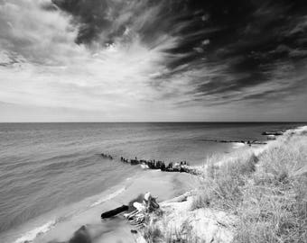 Canvas Print, Lake Michgan, Beach, Landscape Photography, Black and White, Wall Art