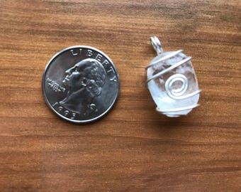 Wire wrapped Quartz pendant