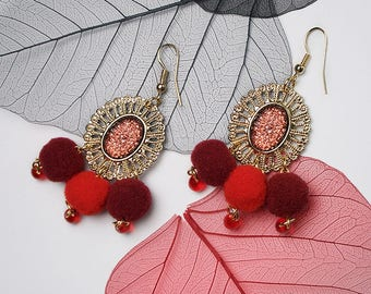 STATEMENT Red Drop Pom-Pom Oval Gold Earrings For Holiday Party Special Occasion