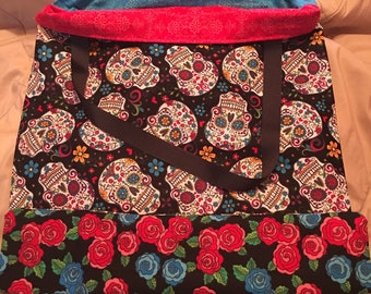 Handmade Reversible Sugar Skull/Rose Bag