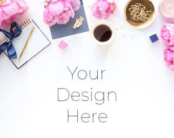 Styled Desk Scene, Gold, Navy, and Pink, Styled Feminine workplace, Styled Photography, Social Branding, Styled Desktop, Stylish