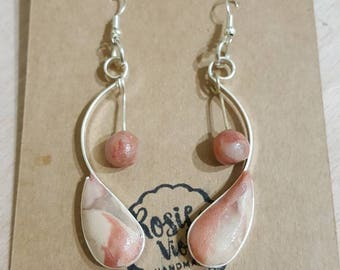 Rose gold polymer clay/wire drop earrings