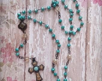 Turquoise/Aqua Vintage Style Rosary