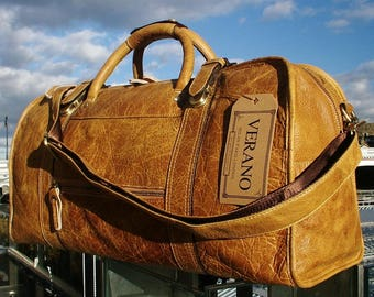SALE Italian Genuine Leather Duffle Weekend Gym Travel Flight Cabin Shoulder Bag Holdall Mens Birthday Gift Tan Walnut Real Luxury Verano